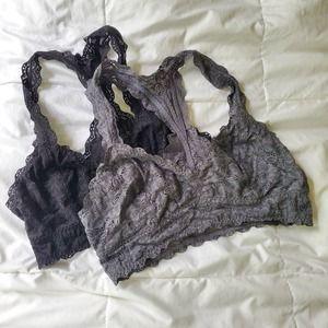 Felina Jezebel Lace Bralette Set of 2 Grey Black